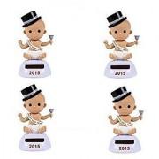 Plastic Solar-Powered Dancing Baby New Years (Set of 4)