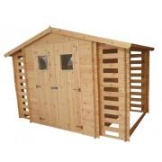Steiner Shopping (TI) Gartenhütte Holz Waidhofen - 3,12 x 2,00 Meter aus 19mm Blockbohlen inkl 2 x Ka