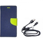Mercury Wallet Flip Cover Case Samsung Galaxy Star Pro (GT-S7262) (BLUE) With Genuine USB Charging Data Cable