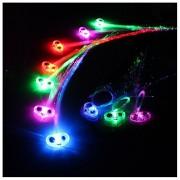 TIRSU 10 Pack flash braid Lights-up Fiber Optic Led Hair Alternating Multicolor Lights Flashing Hair Barrette Clip Braid HRLED-10pc