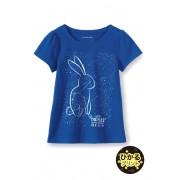 ランズエンド LANDS' END ガールズ・スカラップ・ネック・光るグラフィックT/半袖/Tシャツ【キッズ・子供服・女の子】(バニーコンステレーション)
