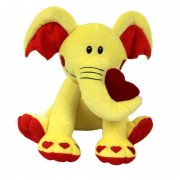 Yellow and Red 15 Inch Elephant Soft Toy with Heart Paws