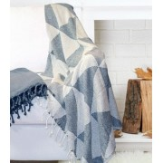 2 Pack 100% Cotton Throw Blanket Blue