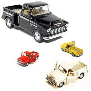 4 die-cast Chevy Stepside Pick-Up 1/32 Scale Pull Back Action Cars - Red White Black Yellow