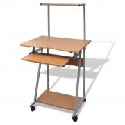 vidaXL Počítačový stůl s výsuvnou deskou - hnědý