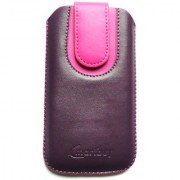 Emartbuy Purple / Pink Plain Premium PU Leather Slide in Pouch Case Cover Sleeve Holder ( Size 3XL ) With Pull Tab Mechanism Suitable For Toshiba TG02