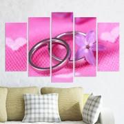 Декоративен панел за стена в розово със сватбени халки Vivid Home