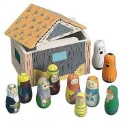 Set Of 11 Nativity Scene Set Wooden Dolls In Manger Baby Jesus, Mary, Joseph, Wisemen