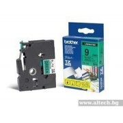BROTHER TZ Tape, 9mm Black on Green, Laminated, 8m lenght, for P-Touch (TZE721)