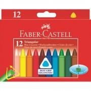 Creioane colorate cerate triunghiulare 12 culori/set FABER-CASTELL