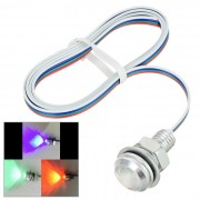 Wired 3W E-01 de 18 mm COB LED RGB Eagle Eyes Car Light - plata + Rojo