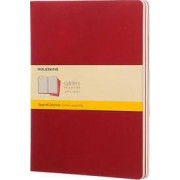 Moleskine Squared Cahier Xl - Red Cover (3 Set) by Moleskine