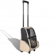 vidaXL Multifunkční skládací vozík pro zvířata béžový