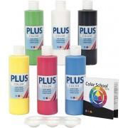 Plus Color Acrylverf - Verf - Color School - Set Primaire Kleuren 6x250 ml