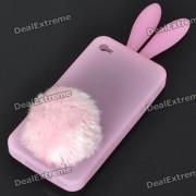 Silicona Conejo lindo del oido caso protector con el sostenedor de cola espesa para Iphone 4 (Rosa)