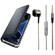 Lava X19 Black Leather Flip Cover with Universal Perfumed Noise Cancellation Earphones with Mic