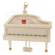 YL2012 Dancing Piano Music Box w/ Ballet Girl - White