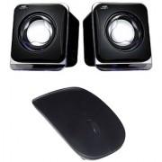 Combo of Black Wireless Mouse & Speaker