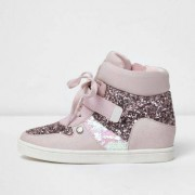 River Island Girls pink glitter hi top lace-up trainers