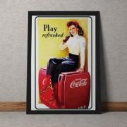 Quadro Decorativo Coca Cola Refrescante Vintage 35x25