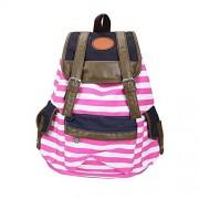 DAYAN Mochila Mujer rayado con cordón bolsas de lona del hombro la mochila del estudiante color rose