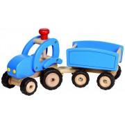 Fa traktor pótkocsival, kék