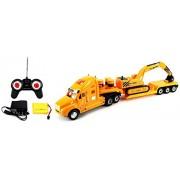 Velocity Toys Heavy Construction Semi Trailer Remote Control RC Semi-Truck Ready To Run RTR w/ Removable Toy Excavator, Barrels
