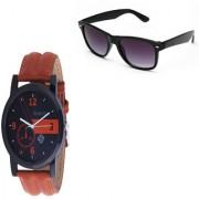 GEMINIGOLD BRANDED MEN'S BROWN STRAP WATCH WITH BLACK GOOGLE COMBO PACK