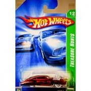 2007 - Mattel - Hot Wheels - Treasure Hunts - #12 of 12 - Evil Twin - Metallic Red w/ Black Flames - Ratre White Wall Ti