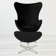 Replica Egg Chair & Egg Footstool Combo - Black