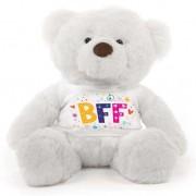White 2 feet Fur Face Big Teddy Bear wearing a BFF T-shirt