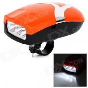 Multi-funcional 3-LED Kit blanca frente de la bicicleta de la lampara + Bell - Naranja