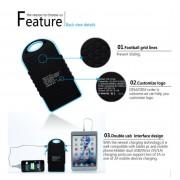 Chargeur Solaire Batterie 12000 mAh 2 USB 2.1A Etanche Anti Choc iPhone iPad iPod Camera, Couleur: Bleu