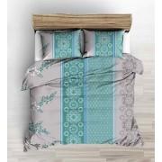 100% pamut 3 részes ágynemű garnitúra huzat extra nagy méretű 140x220 cm paplanhuzattal - barna virágos