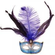 Venetiaans masker met veren blauw met goud