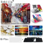 Case For Macbook Pro 13 15 12 Retina Air 11 13 Touch Bar A1706 A1707 A1708 Matte Oil Print Cover Left Brain Marble Wood laptop