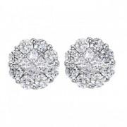 Diamond Clusters Flower Stud Earrings in 14k White Gold (1.00 ctw)