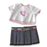 Set bluza si fusta denim pentru papusi Miniland 21 cm
