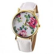 Mulheres Relógio de Moda Quartz PU Banda Flor Preta / Branco / Azul / Vermelho / Marrom / Verde / Rose marca-