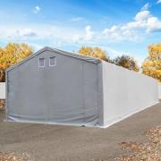 Intent24 Tente de stockage 5x20m - hauteur de côté de 3m, porte 3x3,3m, toile PVC de 550 g/m², gris