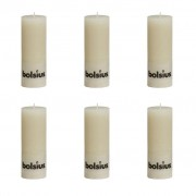 Bolsius Rustic Pillar Candle 190 x 68 mm Ivory 6 pcs