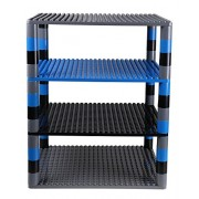 """Strictly Briks Premium Space Themed Tower Organizer Set includes 48 Round Stackers and 4 baseplates (2 Gray, 1 Black, 1 Blue) (Compatible with All Major Brands) Large Pegs Only - 16. 25"""" x 13. 75"""""""