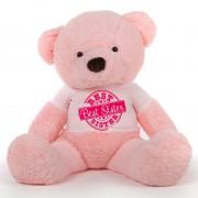5 feet big pink fur face teddy bear wearing special Best Sister T-shirt
