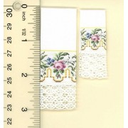 Dollhouse Miniature Set of 2 Hand Towels w/Gold Greek Key and Pink Floral Rose Spray Design