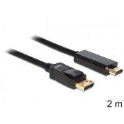 DeLock Cable Displayport 1.1 male > High Speed HDMI-A male passive 2m Black 82587