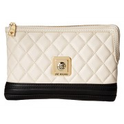 LOVE Moschino Quilted Clutch Crossbody Ivory Black