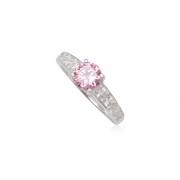 Ezüst gyűrű pink és fehér cirkónia kristállyal