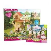 Maven Gifts: Calico Critters of Cloverleaf Corners Bundle - Hopscotch Rabbit Family Set with Adventure Tree House Set