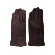 Тъмно кафеви ръкавици от естествен велур