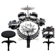 Velocity Toys 11 Piece Childrens Kids Musical Instrument Drum Play Set W/ 6 Drums, Cymbal, Chair